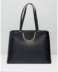 Ted Baker Fold Handle Leather Large Tote Bag