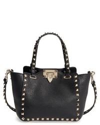 Valentino Garavani Rockstud Mini Alce Leather Tote Black