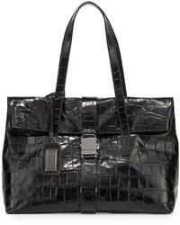 Badgley Mischka Jeyne Crocodile Embossed Leather Tote Bag Black