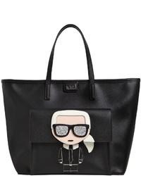 Karl Lagerfeld Kikonik Karl Face Faux Leather Tote Bag