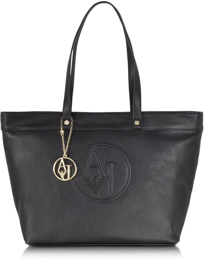 9ee780c77c58 ... Armani Jeans Large Faux Leather Zip Tote Bag ...