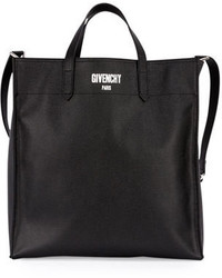 Givenchy Logo Print Leather Tote Bag Black