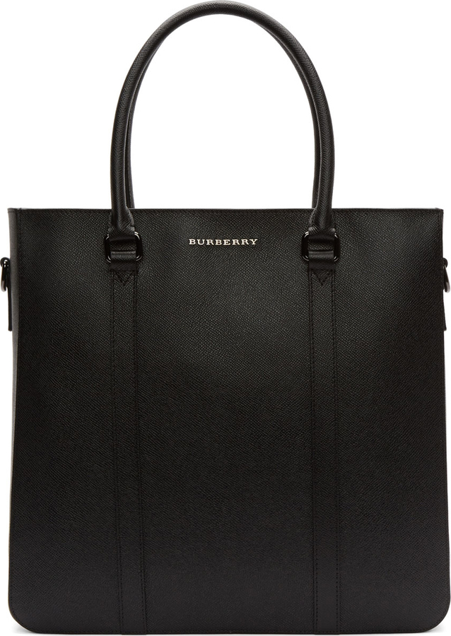 Burberry London Black Leather Kenneth Tote Bag 2af4e9686a102