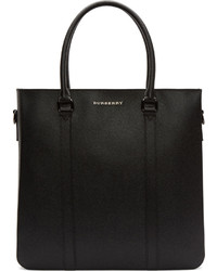 Burberry London Black Leather Kenneth Tote Bag