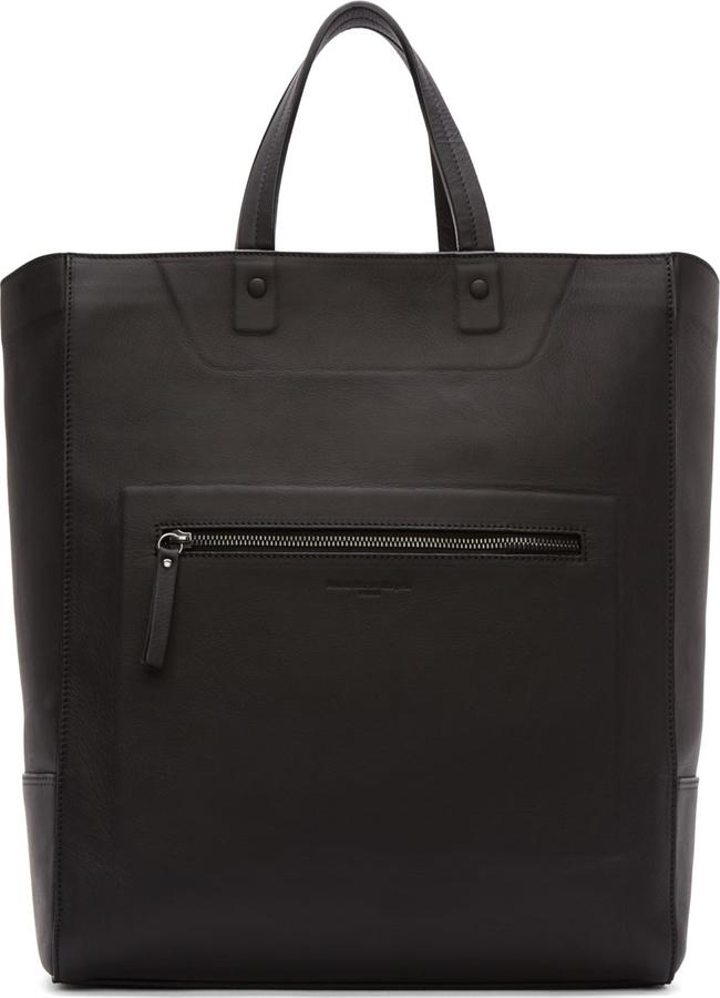 7693628cad008 ... Maison Margiela Black Leather Tote Bag ...