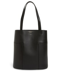 Tory Burch Medium Block T Leather Tote Black