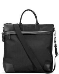 Shinola Medium Leather Nylon Travel Tote Bag