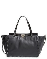 Valentino Medium Rockstud Noir Leather Tote Black