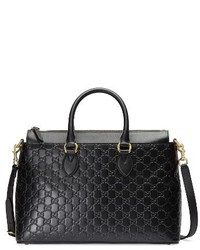 Gucci Medium Top Handle Signature Leather Tote Black