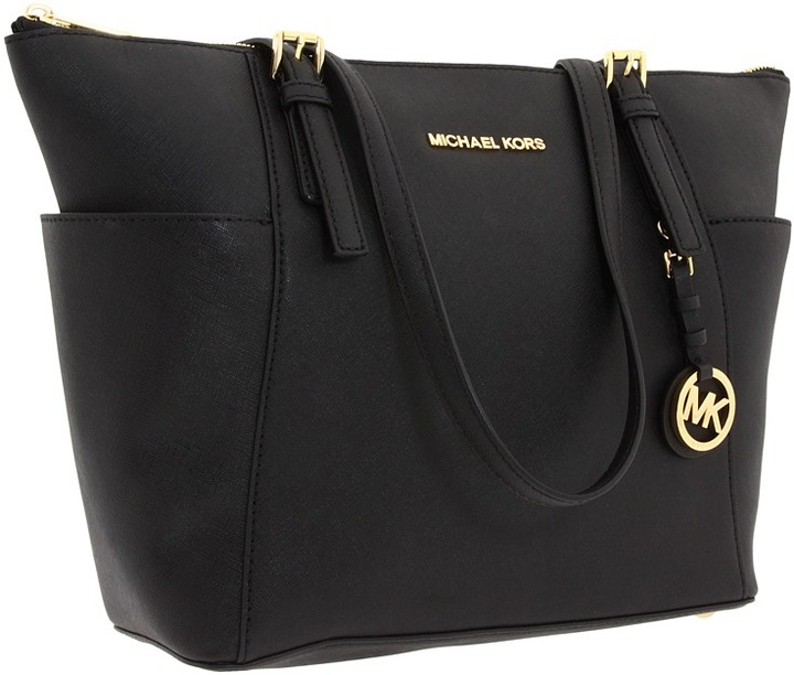 black leather tote bag michael michael kors michl michl kors jet set. Black Bedroom Furniture Sets. Home Design Ideas