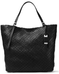 Michael Kors Michl Kors Large Hutton Woven Leather Tote Black