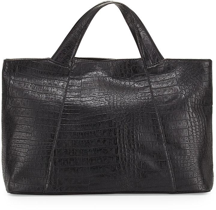 replico hermes - Neiman Marcus Gemma Croc Embossed Faux Leather Tote Bag Black ...