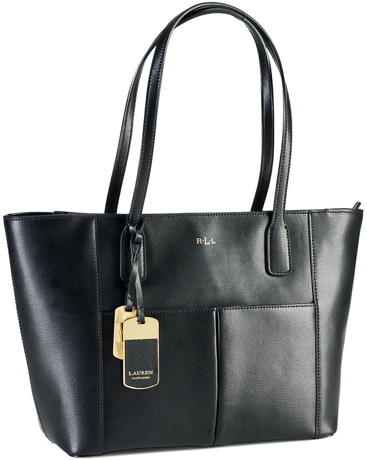 Black Leather Tote Bags Lauren Ralph Newbury Pocket Per