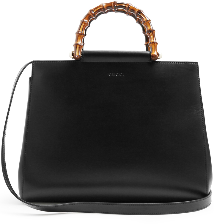 Gucci Nymphea Bamboo Handle Medium Leather Tote