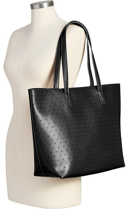 f366342c7b ... Black Leather Tote Bags Old Navy Perforated Faux Leather Totes ...