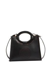 Fendi Runaway Perforated Double F Logo Leather Shopper