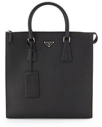 Prada Saffiano Leather Zip Top Tote Bag