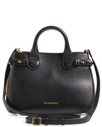 Burberry Small Banner Leather Tote Black