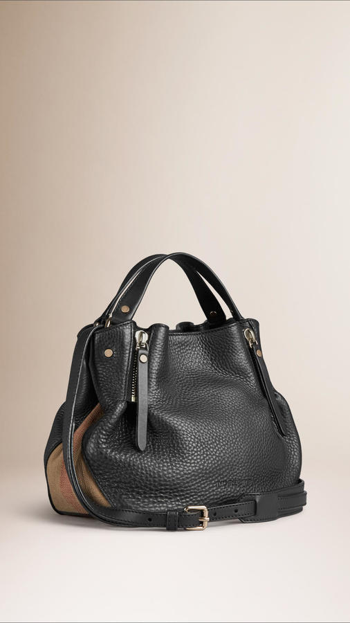 d4df4811f3cb ... Burberry Small Check Detail Leather Tote Bag ...