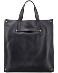 Valentino Stud Corner Leather Tote Bag Black