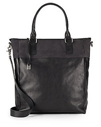 John Varvatos Suede Trimmed Leather Convertible Tote