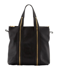 Tom Ford Amber Pebbled Leather Medium Tote Bag Black