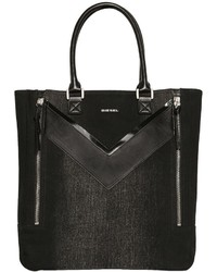 Diesel Treated Denim Faux Leather Tote
