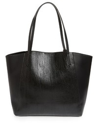 Colorblock Faux Leather Tote Black
