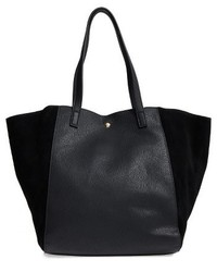 Sole Society Norah Slouchy Faux Leather Suede Tote Black