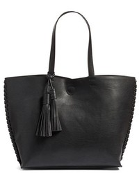 Phase 3 Whipstitch Tassel Faux Leather Tote Black
