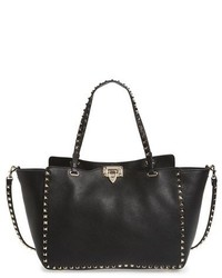 Valentino Rockstud Grained Calfskin Leather Tote Brown