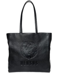 Versus Logo Embossed Textured Leather Tote Bag