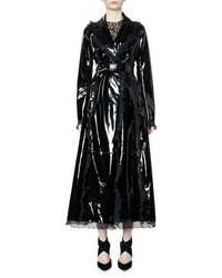 Lanvin Belted Patent Leather Trench Coat Wruffle Trim Black