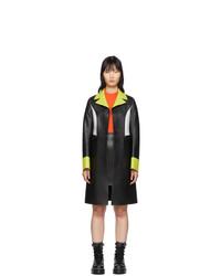 Kirin Black Leather Colorblocked Coat