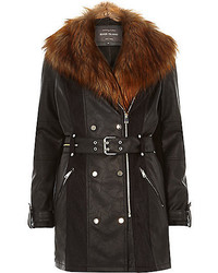 River Island Black Leather Look Faux Fur Trench Coat