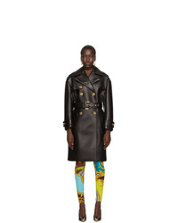 Versace Black Leather Trench Coat