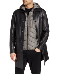 KARL LAGERFELD PARIS Bonded Leather Coat With Removable Vest