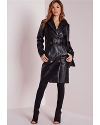 Missguided Faux Leather Trench Coat With Shearling Collar Black