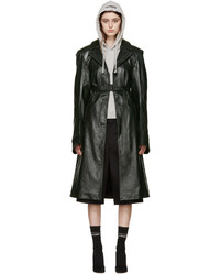 Vetements Green Leather Oversized Trench Coat
