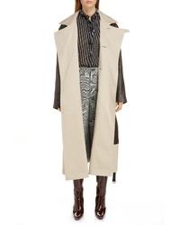 Balenciaga Layered Leather Canvas Coat