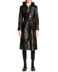 Vetements Mask Leather Trench Coat
