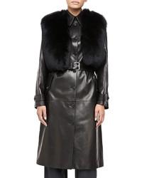 Michael Kors Michl Kors Fur Collar Plonge Calfskin Leather Trench