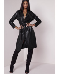 Missguided Faux Leather Trench Coat Black