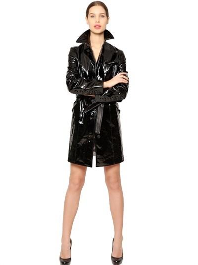 26903260edee ... Patent Leather Trench Coat ...