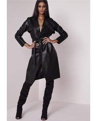 Missguided Peace Love Faux Leather Trench Coat Black