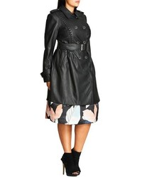 5b3f0c51bb5 ... City Chic Plus Size Vinyl Weave Braid Detail Faux Leather Trench Coat  ...