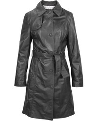 Forzieri Soft Black Leather Belted Trench Coat