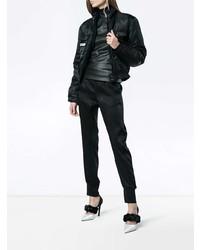 Haider Ackermann Black Leather Turtleneck Long Sleeve Top