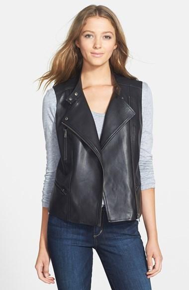 7dff44c591f ... Halogen Faux Leather Moto Vest ...