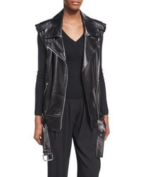 Michl kors collection long lamb leather biker vest black medium 4106370